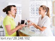 Купить «couple patients visiting clinic», фото № 28248102, снято 2 июня 2020 г. (c) Яков Филимонов / Фотобанк Лори