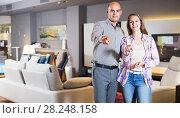 Купить «Couple in home furnishings store», фото № 28248158, снято 16 мая 2017 г. (c) Яков Филимонов / Фотобанк Лори