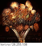 Купить «Celebratory bright firework», фото № 28255138, снято 8 августа 2015 г. (c) ElenArt / Фотобанк Лори