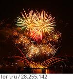 Купить «Celebratory bright firework», фото № 28255142, снято 8 августа 2015 г. (c) ElenArt / Фотобанк Лори