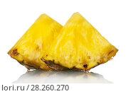 Купить «Juicy pineapple pieces isolated on white. Closeup», фото № 28260270, снято 22 декабря 2017 г. (c) Сергей Молодиков / Фотобанк Лори