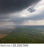 Rainy day above forest plain, aerial view. Стоковое фото, фотограф Владимир Мельников / Фотобанк Лори