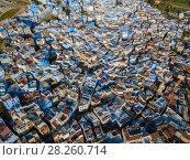 Купить «Aerial of famous blue city Chefchaouen», фото № 28260714, снято 17 февраля 2018 г. (c) Михаил Коханчиков / Фотобанк Лори