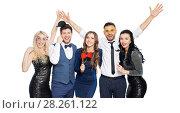 Купить «happy friends with party props posing», фото № 28261122, снято 3 марта 2018 г. (c) Syda Productions / Фотобанк Лори