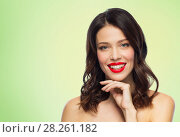 beautiful smiling young woman with red lipstick. Стоковое фото, фотограф Syda Productions / Фотобанк Лори