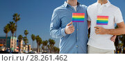 Купить «male couple with gay pride flags in los angeles», фото № 28261462, снято 28 января 2015 г. (c) Syda Productions / Фотобанк Лори