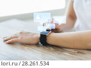 Купить «close up of smart watch with social media icons», фото № 28261534, снято 13 августа 2015 г. (c) Syda Productions / Фотобанк Лори