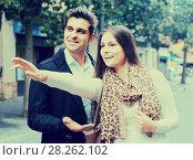 Купить «brunette showing direction to Indian guy at the street», фото № 28262102, снято 22 октября 2019 г. (c) Яков Филимонов / Фотобанк Лори