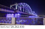 Купить «Night Riga city winter timelapse, lights, bridge, Daugava river», видеоролик № 28262830, снято 28 ноября 2017 г. (c) Aleksejs Bergmanis / Фотобанк Лори