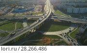 Купить «Bridge Viaduct road traffic machine Drone fast time cars in motion», видеоролик № 28266486, снято 31 января 2018 г. (c) Aleksejs Bergmanis / Фотобанк Лори