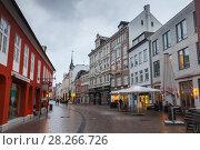 Grosse Strasse, shopping street, Flensburg (2017 год). Редакционное фото, фотограф EugeneSergeev / Фотобанк Лори