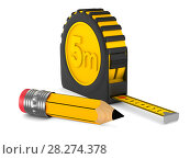 Купить «yellow tape measure and pencil on white background. isolated 3d illustration», иллюстрация № 28274378 (c) Ильин Сергей / Фотобанк Лори