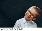 Купить «Portrait of smiling handsome boy wearing glasses», фото № 28274970, снято 22 сентября 2017 г. (c) Pavel Biryukov / Фотобанк Лори