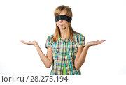 Купить «Девушка с завязанными глазами не знает какой сделать выбор», эксклюзивное фото № 28275194, снято 12 сентября 2010 г. (c) Давид Мзареулян / Фотобанк Лори
