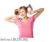 Купить «Веселая девочка-подросток в розовой футболке и с хвостиками», эксклюзивное фото № 28275302, снято 12 сентября 2010 г. (c) Давид Мзареулян / Фотобанк Лори