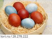 Купить «Крашенные пасхальные яйца. Красные, окрашенные отваром луковой шелухи. Голубые - отваром каркаде», эксклюзивное фото № 28278222, снято 8 апреля 2018 г. (c) Dmitry29 / Фотобанк Лори