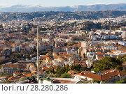 Купить «View on colorful houses of Nica in sunny day of France», фото № 28280286, снято 3 декабря 2017 г. (c) Яков Филимонов / Фотобанк Лори