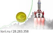 Купить «График роста европейской валюты», видеоролик № 28283358, снято 7 апреля 2018 г. (c) WalDeMarus / Фотобанк Лори