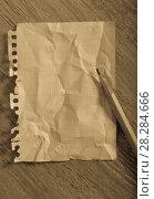 Купить «Crumpled torn page», фото № 28284666, снято 21 сентября 2018 г. (c) Яков Филимонов / Фотобанк Лори