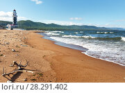 Купить «The sandy shore of Baikal Lake near the entrance to the Baikal Harbor at the lighthouse in the village of Turka in summer morning», фото № 28291402, снято 26 августа 2016 г. (c) Виктория Катьянова / Фотобанк Лори