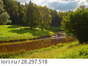 Купить «Spring sunny landscape. Spring trees at the bank of the forest river in sunny day», фото № 28297518, снято 21 сентября 2017 г. (c) Зезелина Марина / Фотобанк Лори