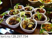 Купить «Portion vegetable salad with fried eggplant», фото № 28297734, снято 8 апреля 2018 г. (c) Володина Ольга / Фотобанк Лори