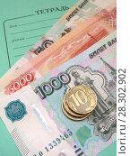 Купить «Школьные взносы. Школьная тетрадь и деньги.», фото № 28302902, снято 5 апреля 2018 г. (c) ViktoriiaMur / Фотобанк Лори
