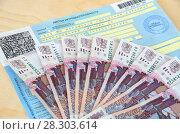 Купить «Листок нетрудоспособности и российские деньги», эксклюзивное фото № 28303614, снято 14 апреля 2018 г. (c) Елена Коромыслова / Фотобанк Лори