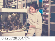 Купить «Young smiling girl is keeping aquarium net and water container next to aquarium with colorful fishes», фото № 28304174, снято 17 февраля 2017 г. (c) Яков Филимонов / Фотобанк Лори