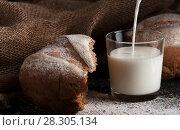 Купить «Freshly baked homemade rye flour bread», фото № 28305134, снято 27 марта 2018 г. (c) Pavel Biryukov / Фотобанк Лори