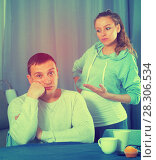 Купить «Husband and pregnant wife arguing at home», фото № 28306534, снято 18 марта 2017 г. (c) Яков Филимонов / Фотобанк Лори
