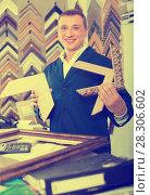 Купить «attentive man seller in picture framing studio with wooden details», фото № 28306602, снято 15 декабря 2018 г. (c) Яков Филимонов / Фотобанк Лори
