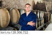 Купить «Man checking ageing barrel process», фото № 28306722, снято 22 сентября 2016 г. (c) Яков Филимонов / Фотобанк Лори