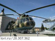 Купить «Транспортно-десантный вертолет Ми-8Т в экспозиции «Авиация и космонавтика». Город Москва, ВДНХ», эксклюзивное фото № 28307362, снято 9 мая 2016 г. (c) Щеголева Ольга / Фотобанк Лори