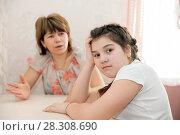 Купить «Furious mother scolding schoolgirl», фото № 28308690, снято 29 марта 2015 г. (c) Дарья Филимонова / Фотобанк Лори