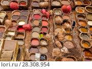 Купить «Traditional leather tanneries in the medina of Fez, Morocco, Africa», фото № 28308954, снято 19 января 2019 г. (c) BE&W Photo / Фотобанк Лори