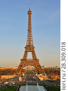 Купить «Eiffel Tower and fountain at Jardins du Trocadero at sunrise in Paris, France», фото № 28309018, снято 22 апреля 2019 г. (c) BE&W Photo / Фотобанк Лори
