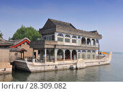 Купить «Marble boat on Kunming Lake at Summer Palace in Beijing, China», фото № 28309082, снято 11 июля 2020 г. (c) BE&W Photo / Фотобанк Лори