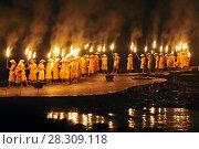Купить «Impression Liu Sanjie Night Light Show Performance on the Li River Yangshuo China», фото № 28309118, снято 23 мая 2018 г. (c) BE&W Photo / Фотобанк Лори