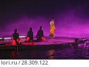 Купить «Impression Liu Sanjie Night Light Show Performance on the Li River Yangshuo China», фото № 28309122, снято 23 мая 2018 г. (c) BE&W Photo / Фотобанк Лори