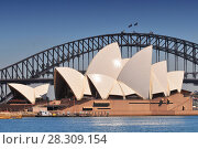 Купить «Sydney Opera House, and Harbour Bridge view from the Sydney Botanic Gardens, Sydney, New South Wales, Australia», фото № 28309154, снято 16 января 2019 г. (c) BE&W Photo / Фотобанк Лори