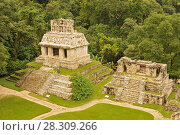 Купить «Panorama of Palenque archaeological site, a pre-Columbian Maya civilization of Mesoamerica. Known as Lakamha (Big Water), Mexico.», фото № 28309266, снято 23 апреля 2019 г. (c) BE&W Photo / Фотобанк Лори