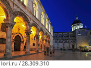 Купить «Rector's Palace and Cathedral at dusk, UNESCO World Heritage Site, Dubrovnik, Dalmatia, Croatia, Europe», фото № 28309310, снято 18 декабря 2018 г. (c) BE&W Photo / Фотобанк Лори