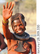 Купить «Young Himba girl with the typical necklace and double plait hairstyle, Omuramba, Kaokoland, Kunene, Namibia», фото № 28309330, снято 26 мая 2019 г. (c) BE&W Photo / Фотобанк Лори
