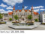 Купить «Town hall and Magistrat Square of Walbrzych, Waldenburg city, Lower Silesia, Poland», фото № 28309386, снято 23 октября 2018 г. (c) BE&W Photo / Фотобанк Лори