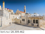 Купить «View on the old street and Greek Byzantine Catholic Church in Bethlehem. Palestinian territories. Israel.», фото № 28309462, снято 25 июня 2019 г. (c) BE&W Photo / Фотобанк Лори