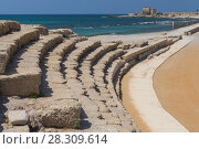 Купить «Roman amphitheater, archaeological excavations in ancient city of Caesarea or Caesarea Maritima, Israel», фото № 28309614, снято 23 июля 2019 г. (c) BE&W Photo / Фотобанк Лори