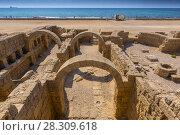 Купить «Roman ruins with arches in Caesarea Maritima, Israel», фото № 28309618, снято 20 апреля 2019 г. (c) BE&W Photo / Фотобанк Лори