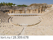 Купить «Ancient roman theater at Bet Shean (Scythopolis) National Park, Israel», фото № 28309678, снято 13 июля 2020 г. (c) BE&W Photo / Фотобанк Лори