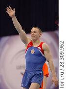 Купить «Денис Аблязин выиграл золото в опорном прыжке на Чемпионате Европы по спортивной гимнастике», фото № 28309962, снято 21 апреля 2013 г. (c) Stockphoto / Фотобанк Лори